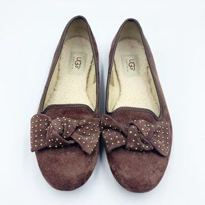 Ugg Alloway Brown Suede Studded Bow Flats